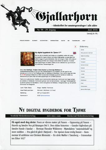 Gjallarhorn nr 58 utgitt 2016